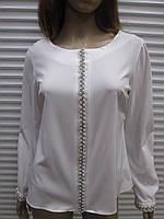 Шикарная белая блуза с камнями и жемчугом р М производства Турция