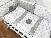 """Детский комплект в кроватку """"Короны серые на белом и белые на сером"""""""