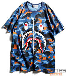 Футболка Bape WGN Face Blue-Color Camo (ориг.бирка)
