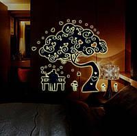 Наклейка светящаяся в темноте на стену Дерево