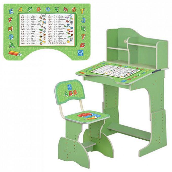 Регулируемая парта со стульчиком Bambi (HB 2071M03-05 ) Зеленая