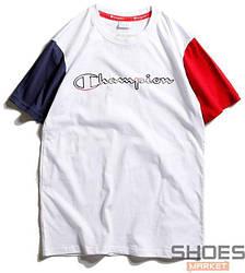 Футболка Champion White Blue-Red Sleeves (ориг.бирка)