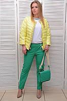 Желтая Демисезонная курточка с жемчугом на молнии Италия