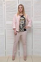 Розовая Демисезонная курточка с жемчугом на молнии Италия