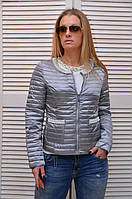 Демисезонная курточка СЕРЕБРО с жемчугом карманы на молнии Италия