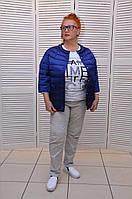 Синяя Демисезонная курточка на кнопках с жемчугом и карманами Италия