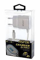 Сетевое зарядное устройство Aspor (A802Plus) с кабелем micro usb, фото 1
