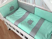 """Детский комплект в кроватку """"Горох на сером и мятном"""""""