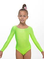 Детские купальники для танцев и хореографии САЛАТОВЫЙ (рост 104 - 140см)