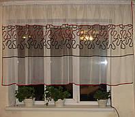 Тюль до подоконника   разводы черно-красные, фото 1