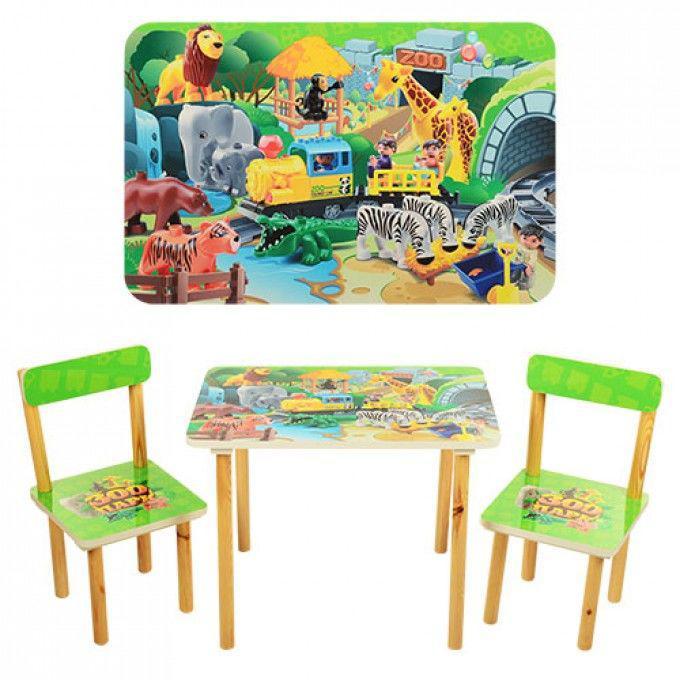 Столик со стульчиками Конструктор (501-19) деревянный