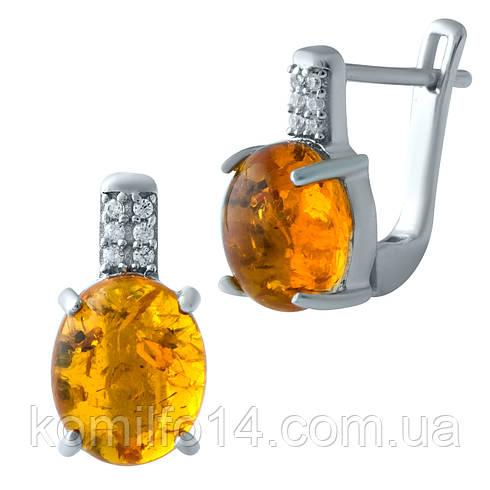 Серебряные серьги с натуральным янтарем