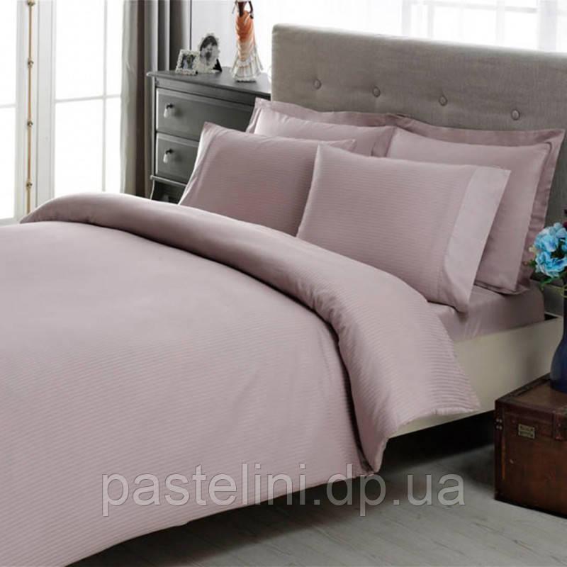 TAC Premium Basic Lilac  евро комплект  сатин -страйп белый