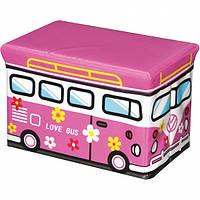 Пуф складной розовый Love bus