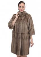 Шуба из норки цвета пастель, силуэт овальный, рукав - укороченный 7/8, длина 90 см