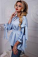 Женская рубашка в завязками рубашка расширенная к низу 42-48 размера, фото 1