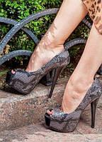Женские темно-серые туфли с открытым носком, шпилька, змея, экокожа