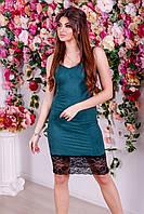 Замшевое платье в бельевом стиле с декором из кружева