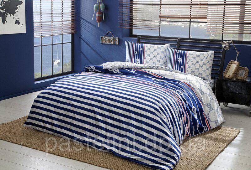 TAC Евро постельное бельё Blue lacivert (на резинке)