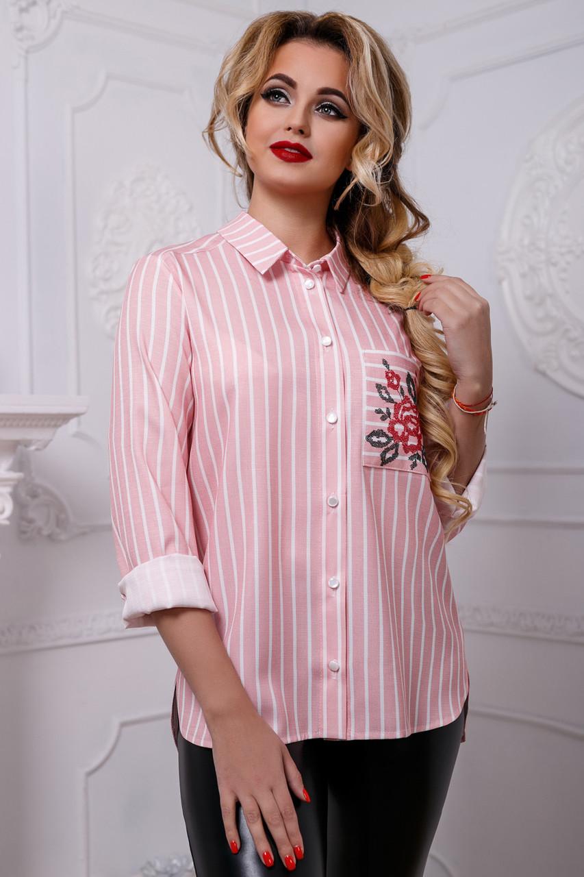 f06c6c579215 Модная женская рубашка в полоску из льна 44-50 размера