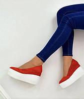 Туфли на танкетке из натуральной замши в 2 цветах