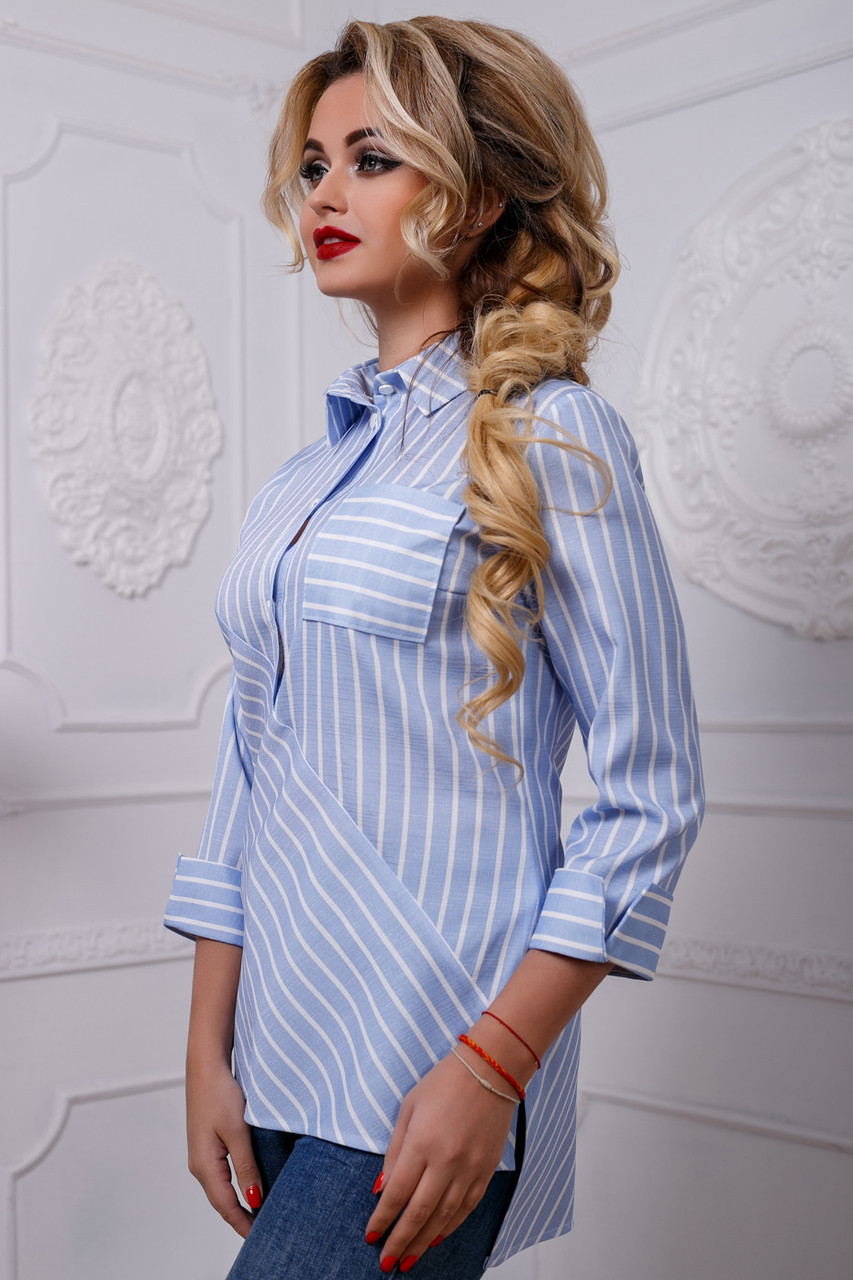 f82b724202f Стильная женская рубашка в полоску из хлопка с разрезами по бокам 42-48  размера -