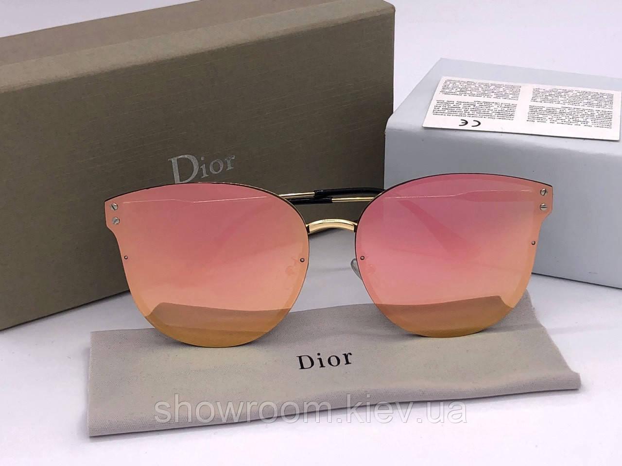 Женские солнцезащитные зеркальные очки  (1559) розовые