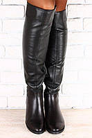 Женские осенние черные сапоги ботфорты натуральная кожа низкий ход