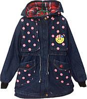 """Куртка джинсовая подростковая демисезонная """"Smile"""" #10-4 для девочек. 10-11 лет. Розовый горох. Оптом., фото 1"""