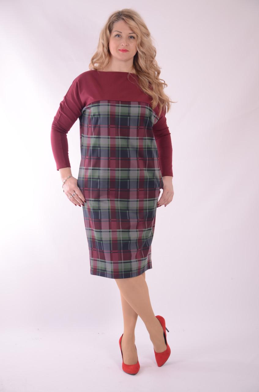 Сукня бордо кимано джерсі балон кажан 48,50,52,54 , Пл 177-2 бордо .