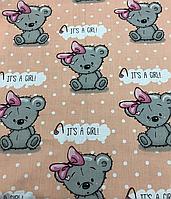 """Постельная ткань (бязь) """"Мишки Girl с малиновым бантиком"""" на персиковом фоне"""