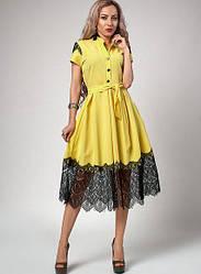 Летнее платье с франц. кружевом р-р 44,46 желтое