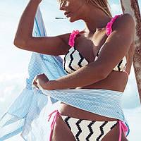 Новинка 2019 года - пляжный женский раздельный купальник черно-белого цвета, размер XL