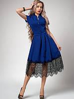 Летнее платье с франц. кружевом р-р 42,44,46,48 электрик