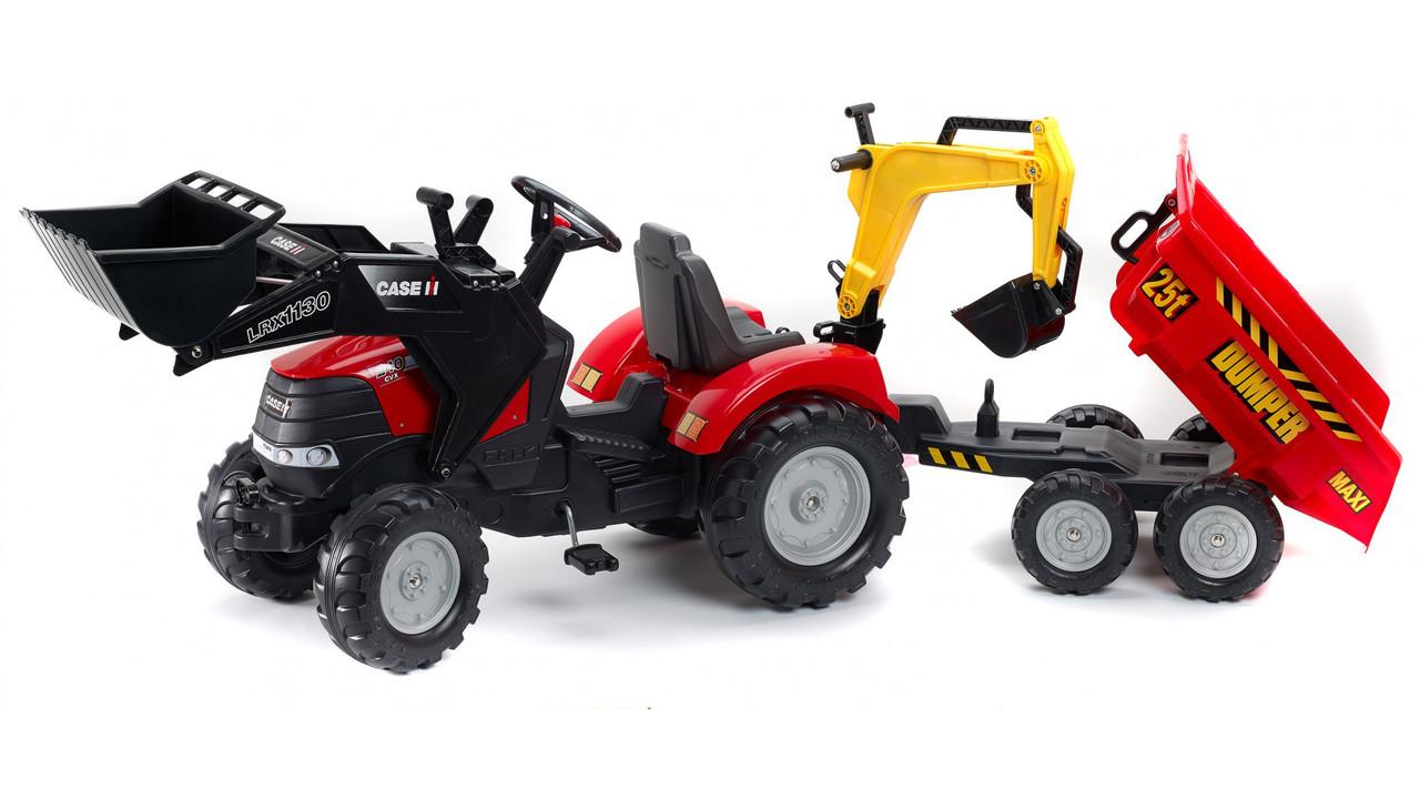 Детский трактор на педалях Falk 995W с Прицепом и двумя Ковшами