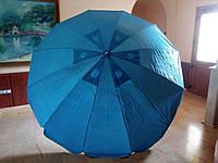Круглый садовый торговый пляжный зонт 12 спиц (однотонный D 2,5 м, с клапаном), фото 1