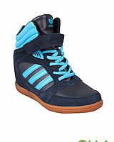 Кроссовки-сникерсы синие обувь женская яркие 4468