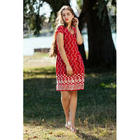 Летнее свободное платье красного цвета с красивым узором. Размеры: M-XXL