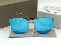 Женские зеркальные голубые солнцезащитные очки (1559)