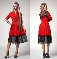 Летнее платье с франц. кружевом р-р 44,46,48 красное