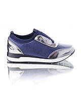 Кроссовки синие без шнуровки обувь для женщин красивые 9802