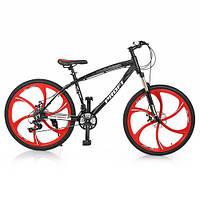 "Велосипед 26д. BLADE 26.1B (1шт)алюм.рама 17"",Shimano 21SP,кассета,алюм.DB,магн.диск,черн-красный"