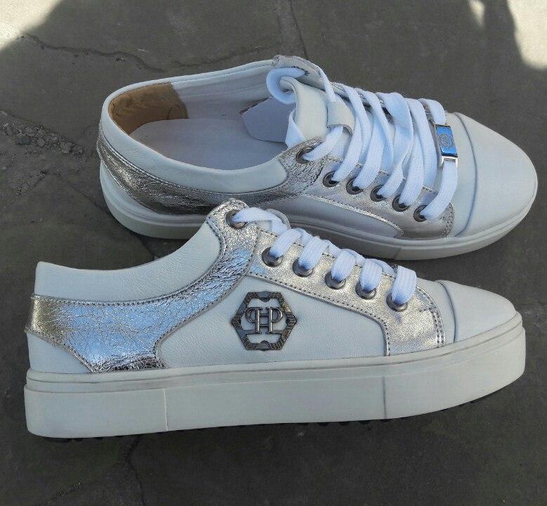 93737a66 Женские белые кожаные брендовые кеды Philipp Plein -