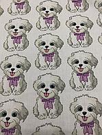 """Постельная ткань (бязь) """"собачки с сиреневыми бантиками"""""""