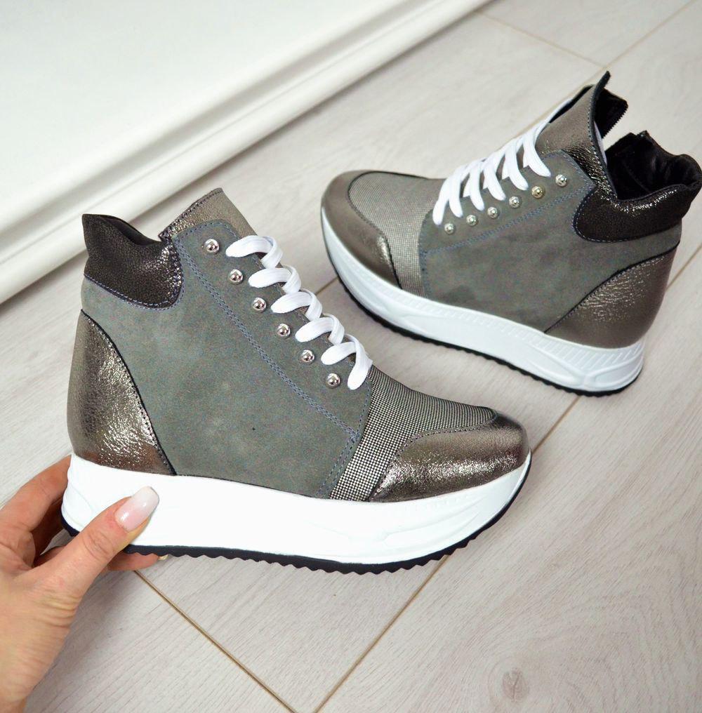 72be243a Серые высокие кроссовки на платформе натуральная замша : продажа ...