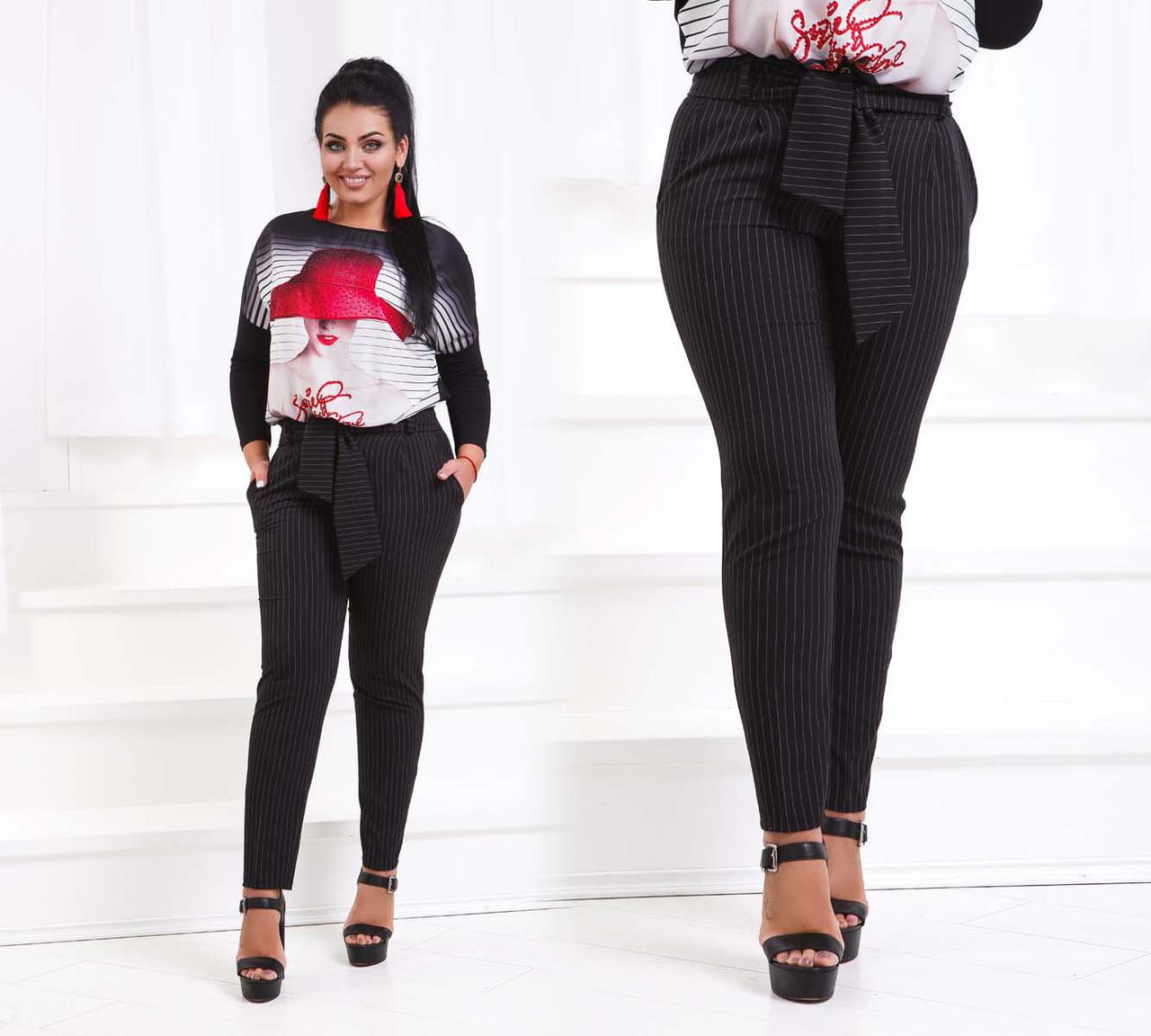 """Элегантные женские брюки в больших размерах 223 """"Креп Полоска Кармашки Пояс"""" в расцветках"""