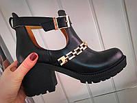 Женские Кожаные туфли-ботинки с цепью на толстом каблуке