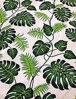"""Постельная ткань (бязь) """"Листья папоротника зеленые на белом"""""""
