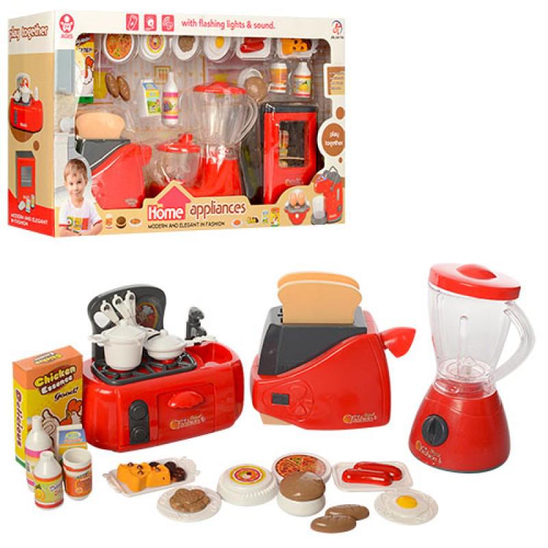 Детский Игровой набор кухонной бытовой техники, тостер, продукты, музыка, свет, 2 вида, 979-25-26