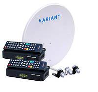 Комплект для сутникового ТВ на 3 спутника для 2-х ТВ «Горыныч» HD Стандарт-2